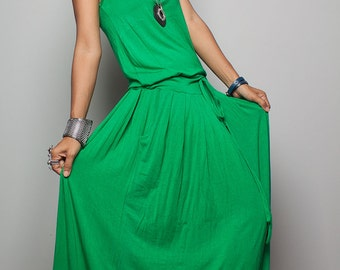 PLUS SIZE Green Maxi Dress -  Sleeveless dress : Autumn Thrills Collection No.9