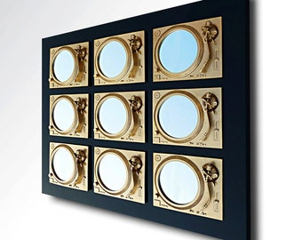 Prevail - Technics Turntable Inspired Mirror Sculpture - Gold & Black  - Original Contemporary British Art