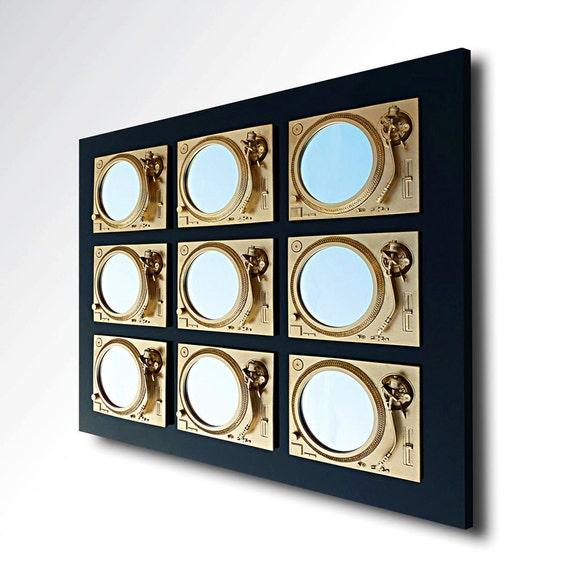 Prevail - Technics Turntable Inspired Mirror Sculpture - Gold & Black  - Original Contemporary British Art