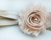 Champagne and Peach Flower Headband - Newborn Baby Girl - Spring Photo Prop - Ivory - Vintage Inspired - Pearl - Shabby Chic