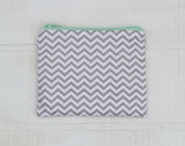 SALE Small Zipper Pouch - grey and white chevron
