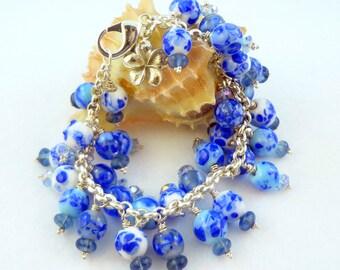 Lampwork Bead Bracelet  - 'Bonnie Blue'