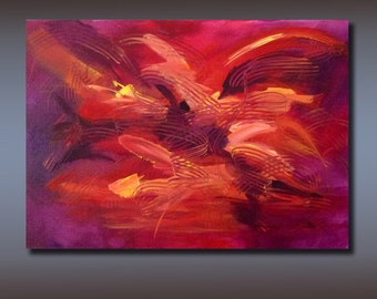 "Large Fine Art Original Christian Abstract Painting on Gallery Wrap Canvas Titled ""Pentecost"" 24 x 36 Purple Red Tones, FREE Shipping"