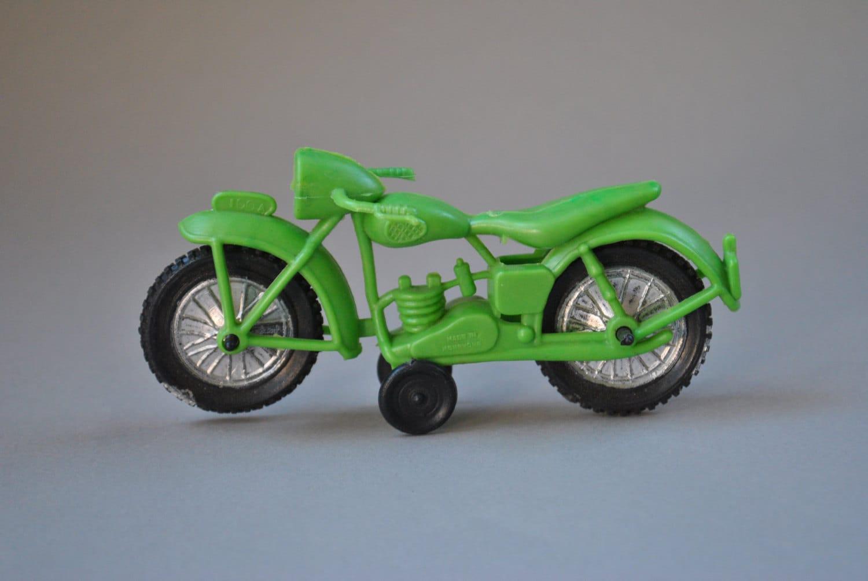 vintage 1970 39 s green plastic motorcycle toy made in hong. Black Bedroom Furniture Sets. Home Design Ideas
