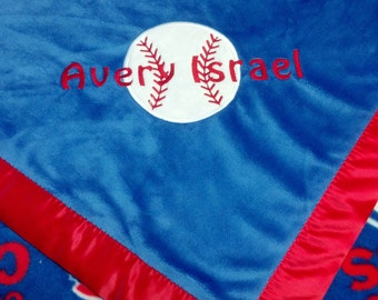 Personalized Chicago Cubs Baseball Fleece and Minky Baby Blanket with baseball applique