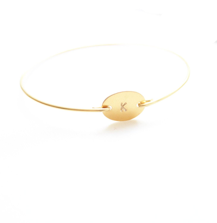 Personalized Bracelet, Monogram Bracelet, Small Oval Initial Bangle, Monogram Jewelry, Personalized Jewelry, Initial Monogram Bracelet