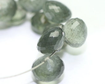Moss Aquamarine Micro Faceted Onion Briolette 4 Grey Green Blue Semi Precious Gemstone March Birthstone