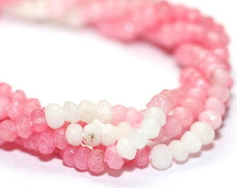 Mystic Pink Opal Micro Faceted Rondelles 1/4 Strand Shaded Pink Mystic Coated Semi Precious Gemstone