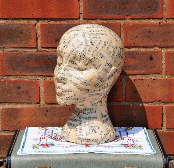 Vintage Music Sheet Decoupaged Mannequin Head Wig Hat By Floom