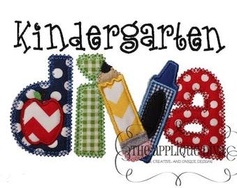Back to School Kindergarten Diva Digital Embroidery Design Machine Applique