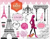 Paris Clip Art Set 1, Eiffel Tower France Landmarks Frame French Dog Woman Tree Lace Border --- Personal and Small Commercial Use. BP 0797