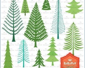 Instant Downloads, Christmas Tree, Pine Woodlands Woods Forest Digital Clip Art for Cards Making, Personal and Small Commercial Use. BP 0823