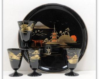 Sale Saki Serving Tray Goblets Lacquer Aizu Japan Hand Painted Oriental Vintage 1950s Barware