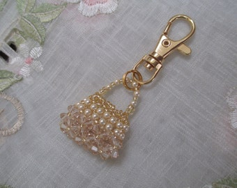 Light Silk Crystal Purse Charm or Zipper Pull
