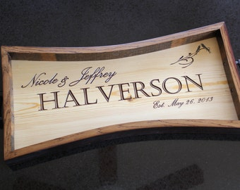 Personalized Wine Side Serving Tray- Wedding Gift, Anniversary Gift, Housewarming Gift