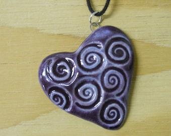 REDUCED PRICE - Sale - Large Spiral Heart Pendant, Ceramic Pendant, Valentines Day Pendant