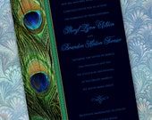 wedding invitations, bridal shower invitations, peacock party invitation, emerald peacock wedding invitations, peacock bridal shower, IN265