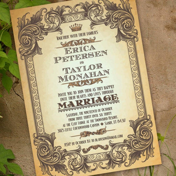 wedding invitations, elegant wedding invitations with scrollwork and subway lettering, creamy antique graduation announcements, IN225