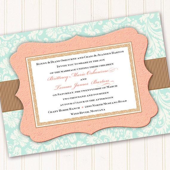 wedding invitations, aqua and peach wedding invitations, aqua bridal shower invitations, peach and aqua baby shower invitations, IN257