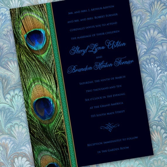 wedding invitations, bridal shower invitations, peacock party invitation, emerald peacock wedding invitations, peacock bridal shower, IN265