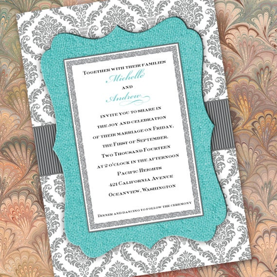 Wedding Invitations Silver And Turquoise