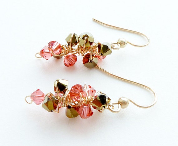 Coral Pink Earrings Gold