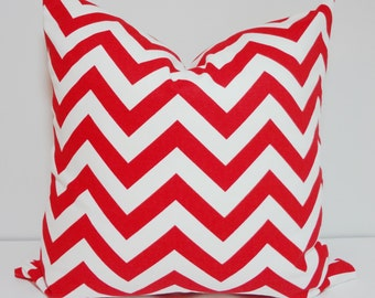 Red & White Chevron Zig Zag Pillow Cover Decorative Pillow Cover Throw Pillow All Sizes