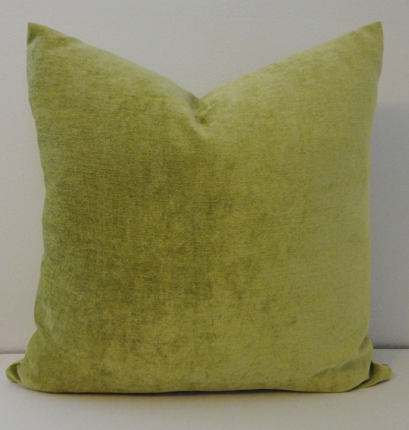 Apple Green Velour Pillow Decorative Pillow Cover Solid Green
