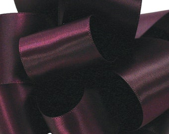 "Satin Ribbon, 1 1/2"", Double Face Eggplant Purple - THREE YARDS - Offray Satin No. 9 ""Eggplant 284"" Double Sided Satin Ribbon"