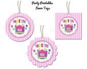 """Bounce House Girl Party - Thank You Favor Tags - 2"""" Party Circles  - DIY Party Printables - INSTANT DOWNLOAD and Print"""