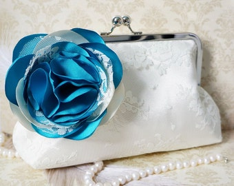 Victorian Inspired Lace Bridal and Bridesmaid Clutch Purse with Rose Flower Adornment