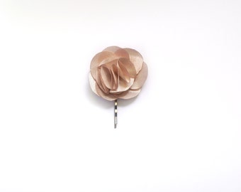 Bridesmaid and Flower Girl Rose Hair Pin- Champagne Satin Fabric