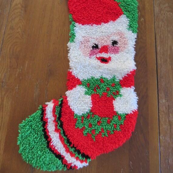 Vintage Latch Hook Santa Claus Christmas Stocking Santa