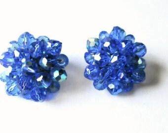 Vintage Blue Earrings Crystal Cluster Bridal 1950s