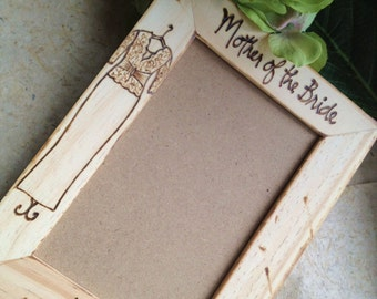 Mother of the Bride Personalized Wood Frame Gift for Mom Rustic Wedding with HER Dress