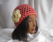 Womans Salmon Crochet Hat with Button Flower Applique Stylish, Chic, Trendy and Lacy Cap Handmade Fashion Accessory