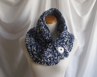 Cowl Button Chunky Bulky Button Crochet Cowl: Navy, Medium Blue and White with White Button