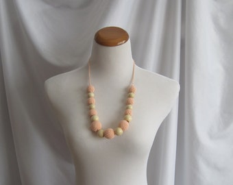 Crochet Covered Bead Necklace - Light Peach and Wood Beads
