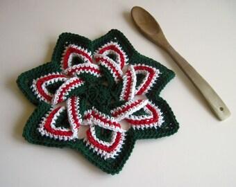 Crochet Flower Trivet Hot Pad - Christmas Green, Red and White
