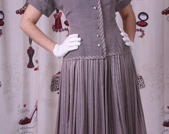 Vintage 1950's Drop Waist Button Up Peter Pan Collar Pleated Skirt COAT Dress Sz M