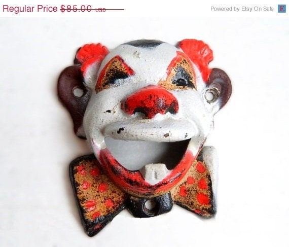 CIJ Sale RESERVED Vintage Cast Iron Wall Mount Clown Bottle Opener - With Tooth - John Wright Original