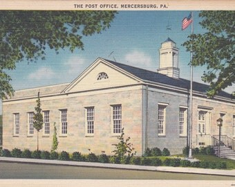 Mercersburg, Pennsylvania, Post Office - Linen Postcard - Unused (A)