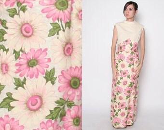 Vintage 60s Maxi Dress / Floral Maxi Dress / Mod Dress / Pastels / M L