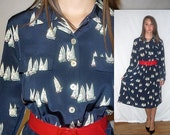 Vintage Shirtwaist Dress / NAUTICAL Midi 1980s Button Up Down  / 80s J.G. Hook Prep Preppy Sailboats Navy Blue Dress / M L