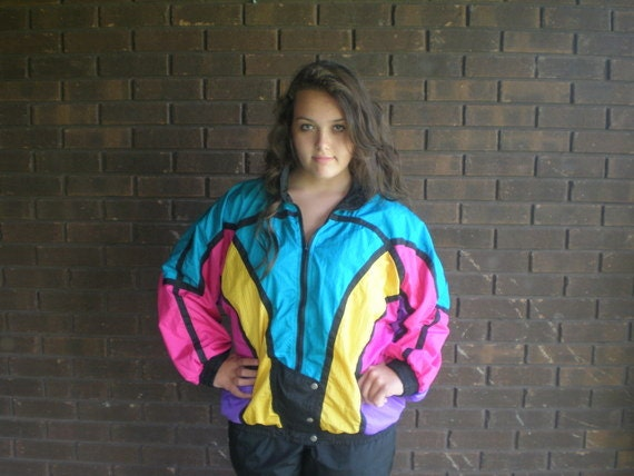 Vintage 80s 90s Windbreaker Bomber Jacket Track Suit Color