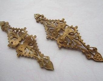 Vintage Ornate Raw Brass Filigree Stamping 1Pc.U.S. Made
