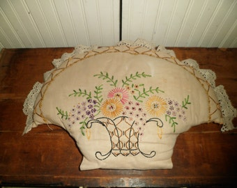 Antique Cottage Decor Basket Pillow Victorian Hand Embroidery