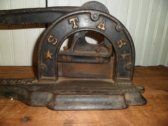 Antique tobacco cutter cast iron star brand dated