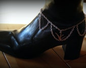 Adjustable Boot Bracelet with Silver Chains and Bird Charm