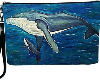 Humpback Whale Large Cosmetic Bag with detachable strap - Salvador Kitti